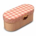 Rózsaszín-fehér kockás ékszeres dobozka, Fehér páccal kezelt ékszeres dobozka, aminek a ...
