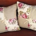 Romantikus stílusú kispárna kollekció, Rózsás és drapp pamutvászon kombinálásával ...