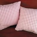 Rózsaszín-fehér kockás kispárna kollekció, Rózsaszín-fehér kockás és fehér anyag kombin...