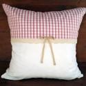 Rózsaszín fehér kockás csipkés díszpárna, Rózsaszín fehér kockás és fehér pamut anyag ...