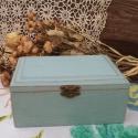 Shabby chic stílusú kék ékszeres dobozka, Ezt a gyönyörű kis dobozkát pácoltam, festett...