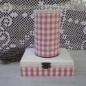 Kockás asztali szett, Rózsaszín-fehér kockás pamutvászonnal és csi...