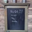 Rusztikus stílusú szürkészöld felíró tábla,  Fából készített, szürkészöldre festett, er...