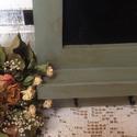 Rusztikus stílusú konyhai felíró tábla- szürkéskék, Fából készített, szürkéskékre  festett, ant...