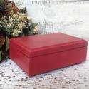 Piros ékszeres dobozka, Otthon, lakberendezés, Ékszer, Ékszertartó, Pirosra festett, elegáns vonalvezetésű ékszeres dobozka.  Belseje fehér, sötét viasszal öregített. A..., Meska