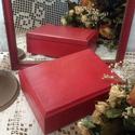 Piros szett, Otthon, lakberendezés, Képkeret, tükör, Gyönyörű mélypiros szettet készítettem: tükröt  és hozzá illő ékszeres dobozkát. A romantikus stílus..., Meska