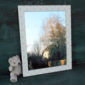 Rózsaszín pöttyös tükör, Egyszerű képkeretet újítottam fel: fehérre fe...