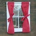 Piros pöttyös ablakocska, Baba-mama-gyerek, Otthon, lakberendezés, Gyerekszoba, Koptatott, fehér ablakocska piros alapon fehér tűpöttyös függönnyel. Az ablakokat számomra készíti e..., Meska