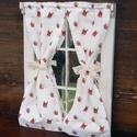 Rózsás ablakocska, Otthon, lakberendezés, Három osztásos, tört fehérre festett, koptatott, viaszolt ablak. A függönyt fehér alapon piros rózsá..., Meska