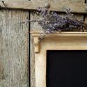 Rusztikus konyhai felírótábla, Fából készített, fehérre festett, erősen ör...
