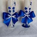 Tengerész Navy blue (kék-fehér) Esküvői pezsgőspohár szett, gyertyaszett